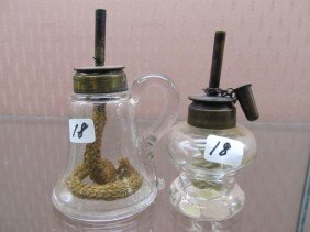 18: (2) EAPG Whale Oil Wick Lamps. Scarce; Very NIce/
