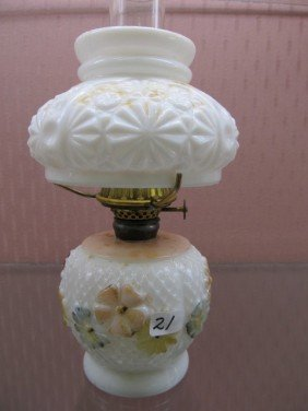 21: Cosmos Painted Mini Oil Lamp with Mariaged Shade.