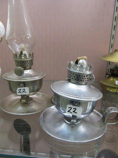 22: (2) Nice 1920's Aluminium/Tin Mini Swivel Chamber L