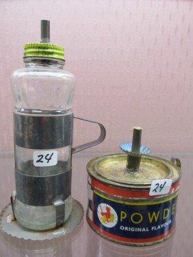 24: Pair of Folk Art Hand Made Mini Wick Lamps
