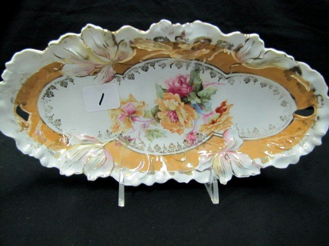 """1: UM RSP 9"""" floral relish tray w/ wild roses"""