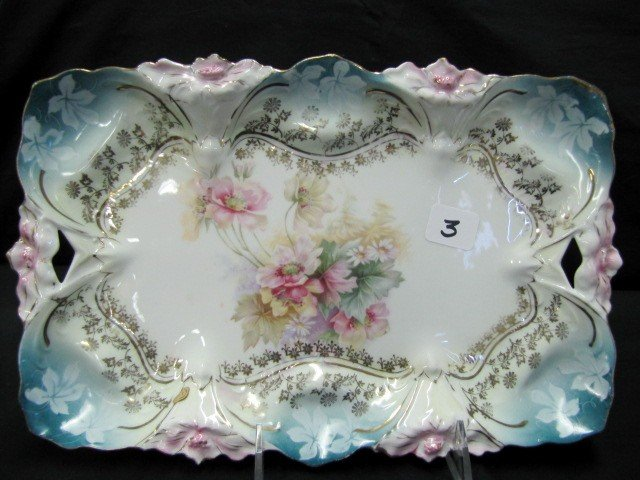 """3: UM RSP Lily mold 11"""" floral dresser tray w/ daisy"""