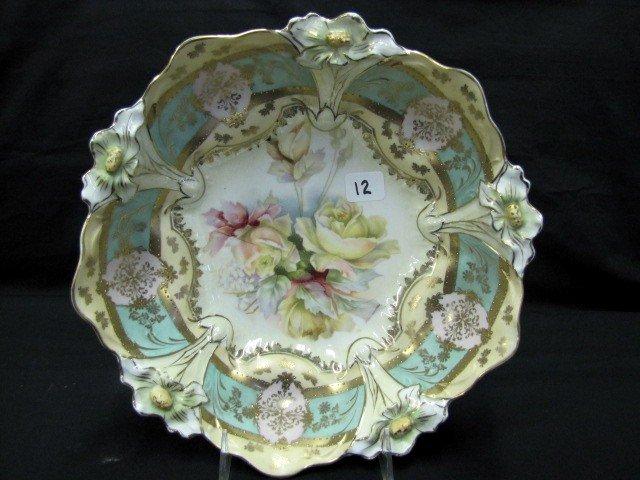 "12: UM RSP 10.5"" Lily Mold floral bowl w/ banded gold S"