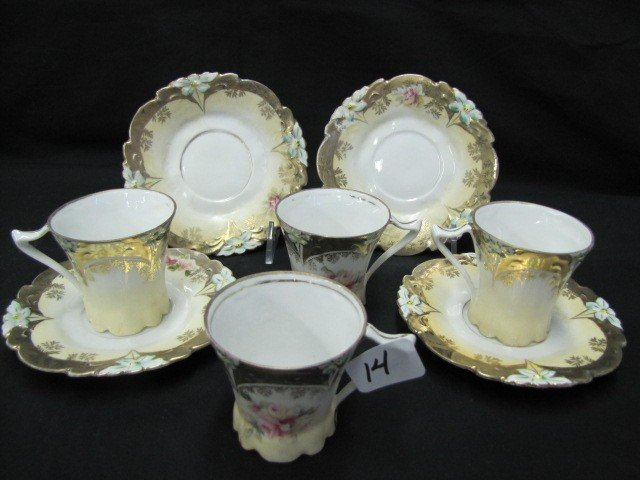 14: Set of 4 Lily mold Demitasse cup & saucers. Nice go