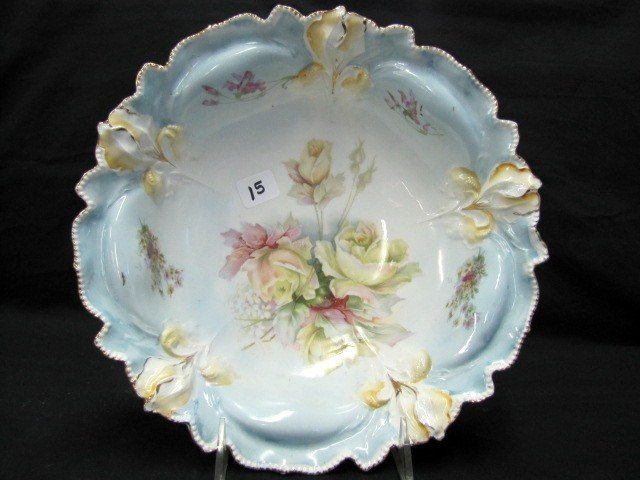 "15: UM RSP 10.5"" floral Iris mold bowl w/ yellow roses"