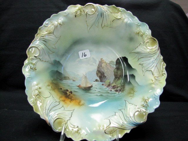 """16: RSP 10.5"""" Man in Mountain bowl w/ nice leaf mold Ve"""