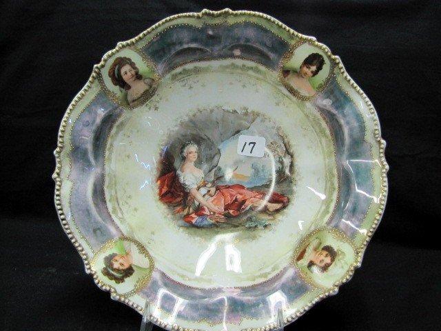 """17: UM RSP 10.5"""" Portrait bowl w/ portrait medallions."""