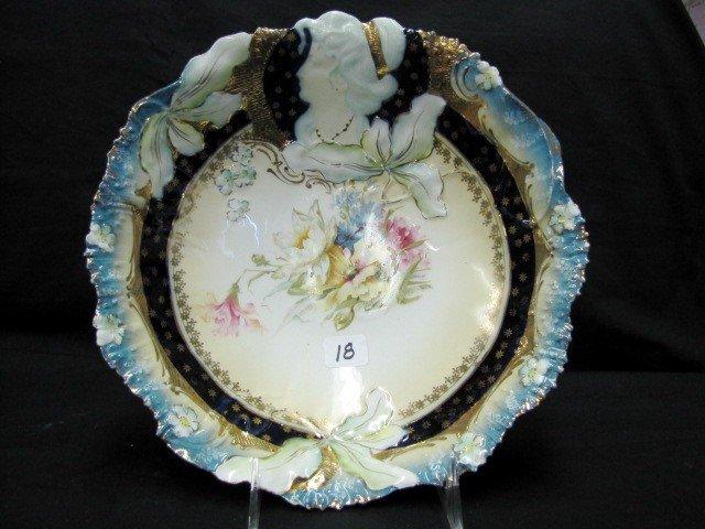 "18: Hidden Image 10.5"" bowl w/ cobalt & gold trim. w/ m"