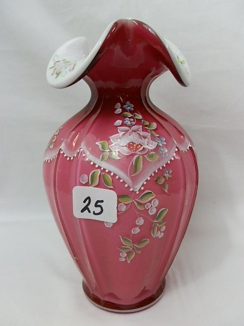 25: Fenton Wild Rose medium size vase.