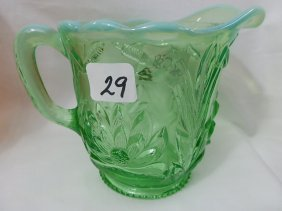 Fenton/Northwood Green Opal Waterlily & Cattail Cre