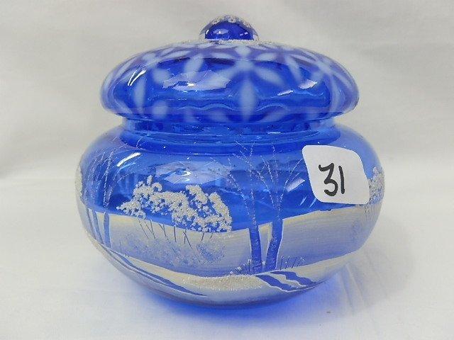 31: Fenton cobalt blue Winter Scene bowl w/lid Museum C