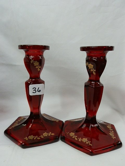 36: Fenton red with gold Deco candlesticks (2)