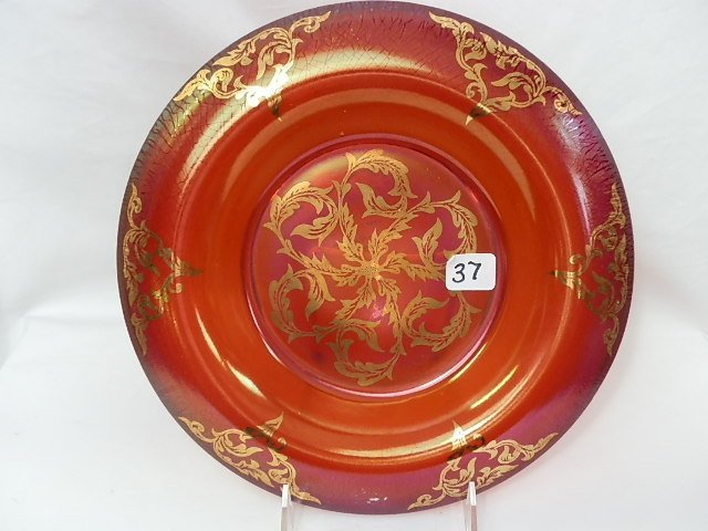 37: Fenton red with gold Deco low console bowl