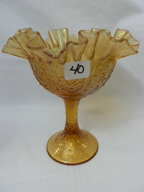40: Fenton amber Persian Medallion compote-Extremely St