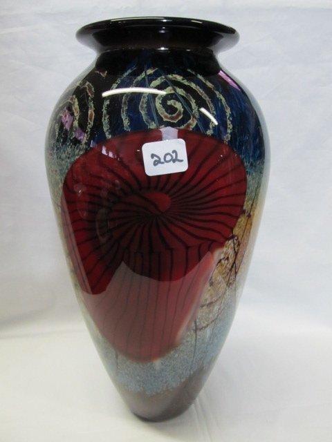 202: Rick Satava Blend Shell Vase.  Magnificent Huge