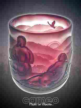 """2: """"Don't Over Look Sunset"""" 6.5""""x6"""" bowl. 3-color, plum"""