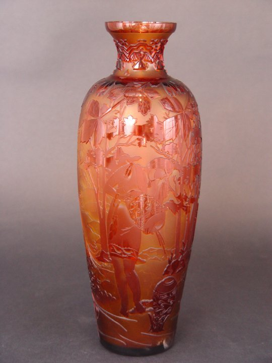 """9: """"The Waterbearer"""" 12.5"""" vase. 3-color, cranberry/ to"""