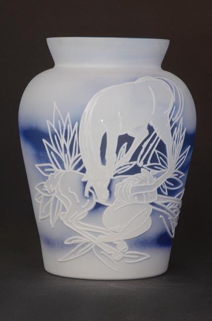 "15: ""Little Darlin' Me"" 8""x6"" ming vase. 3-color, white"