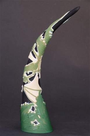 "16: ""Wrapped"" 10.5""x 3"" tusk. 3-color, green/ bone/blac"