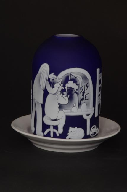 """17: """"Remember When"""" 4""""x3"""" candle holder. 4-color, white"""
