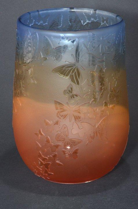"20: ""Rainbow Gathering"" 9""x 5.5"" vase. 3-color, cranber"