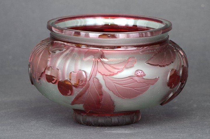 "23: ""Cherry Popper 4""x6"" bowl. 2-color. cranberry/ crys"