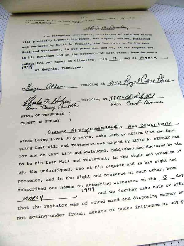 274: Last Will and Testament of Elvis A. Presley (Speci - 6