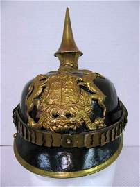 82: WW I German officer spiked helmet with brass fittin