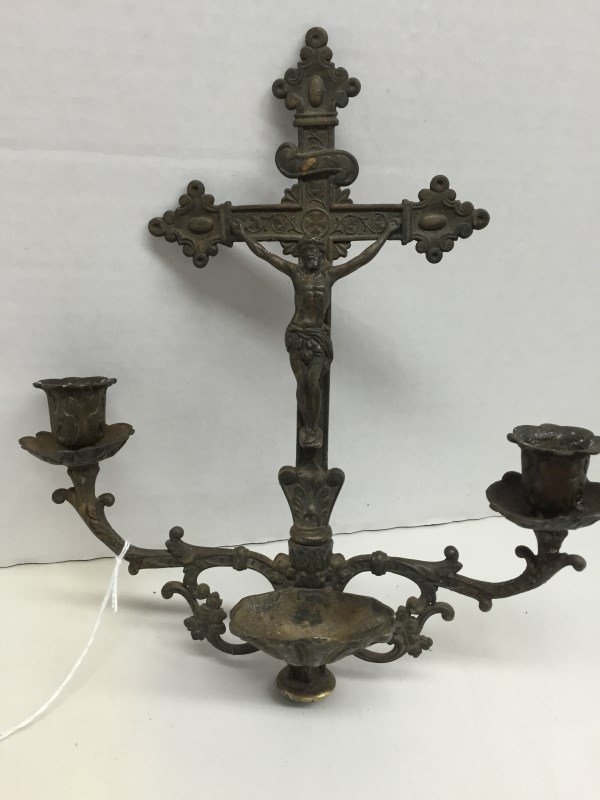 Antique Metal Holy Water Font w/Double Candle Holders