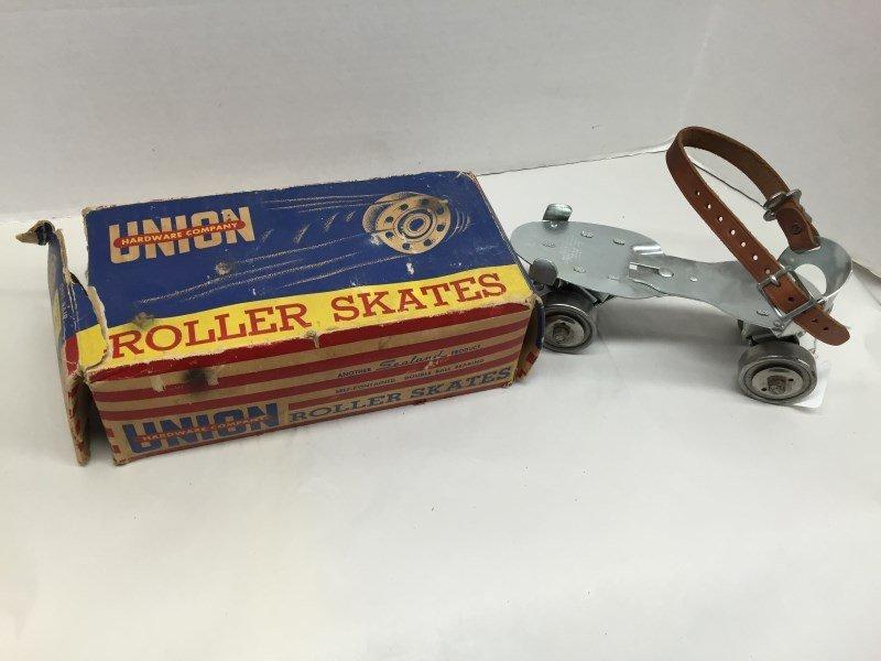 Vintage Union Metal Roller Skates New In Original Box