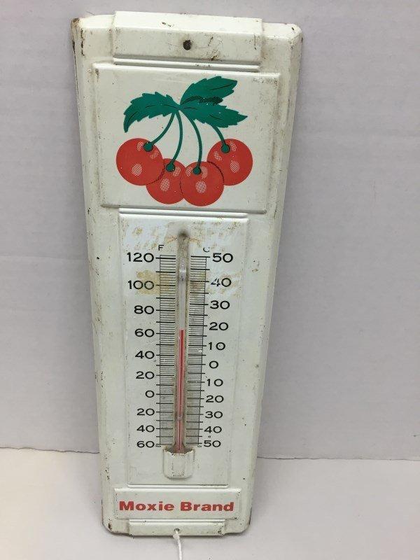 Vintage Moxie Brand Metal Thermometer