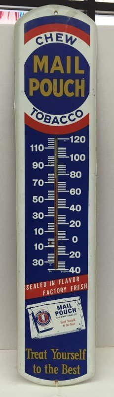 Vintage Metal Mail Pouch Sign / Thermometer