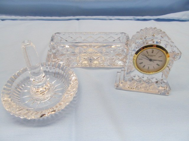 3 Pieces Signed Waterford Crystal ~ Ring Holder / Clock