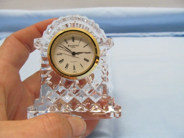 3 Pieces Signed Waterford Crystal ~ Ring Holder / Clock - 8