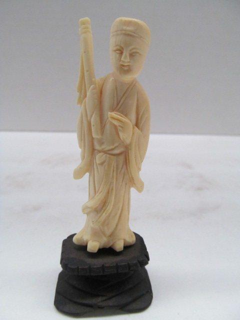 "Vintage Small Carved Ivory Figurine 4"" Tall"