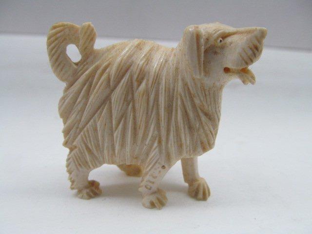 "Vintage Carved Ivory Sheep Dog 2"" Tall"