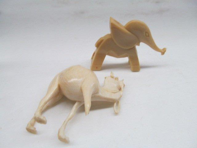 Vintage Ivory Carved Little Elephant & Camel w/Broken