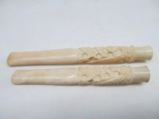 Lot of 2 Vintage Ivory Carved Cigarette Holders