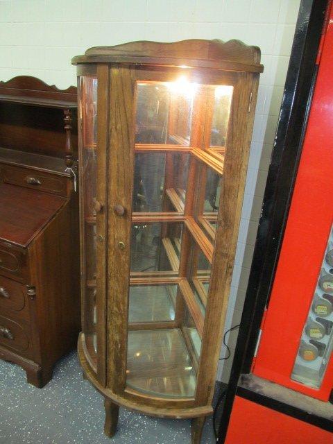 Antique Mirror Back Lighted Oak Corner Curio Cabinet ~ - Mirror Back Lighted Oak Corner Curio Cabinet ~