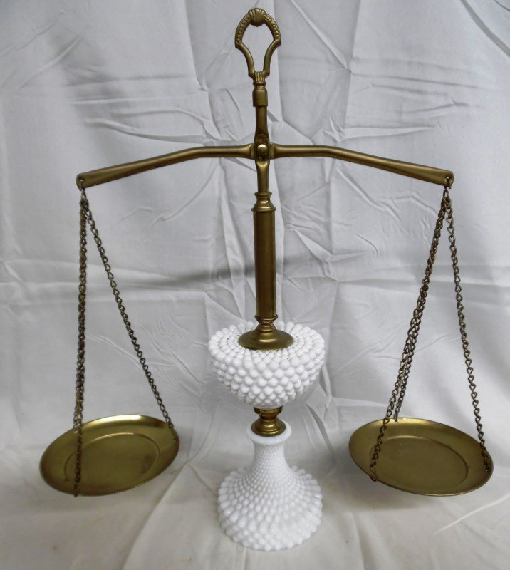 Vintage Milk Glass Justice Scales