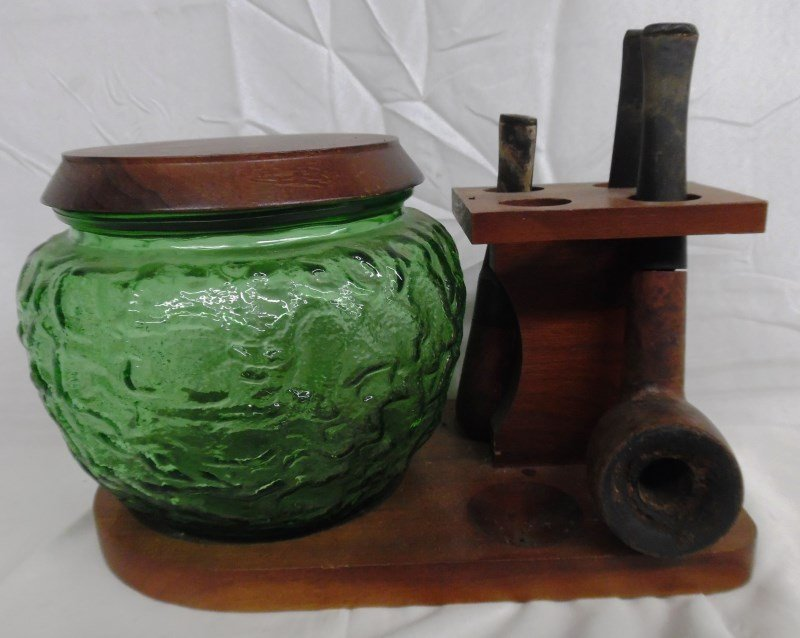 Vintage Cigar Stand w/Glass Humidor & 3 Pipes