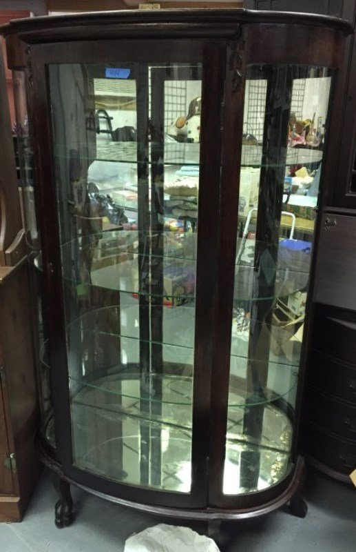 Antique Mirror Back Curved Glass Curio Cabinet