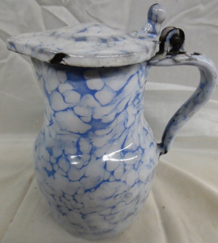 Antique Very Rare Snow On The Mountain Enamelware Syrup