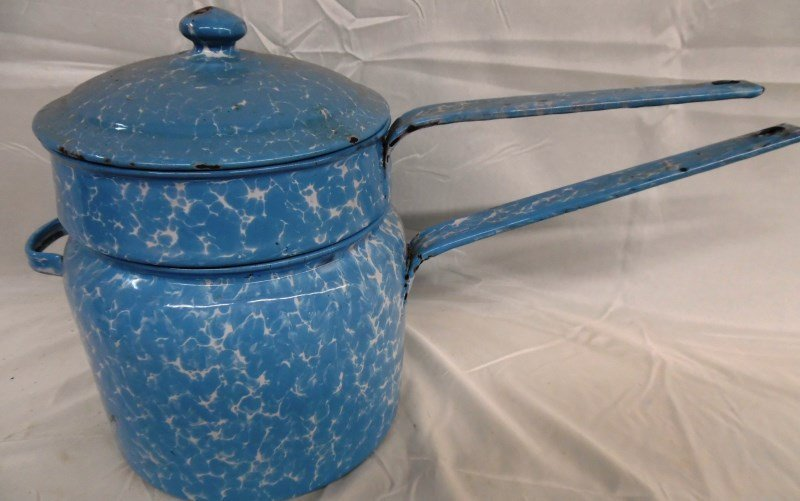Antique Blue Granite Ware Double Boiler