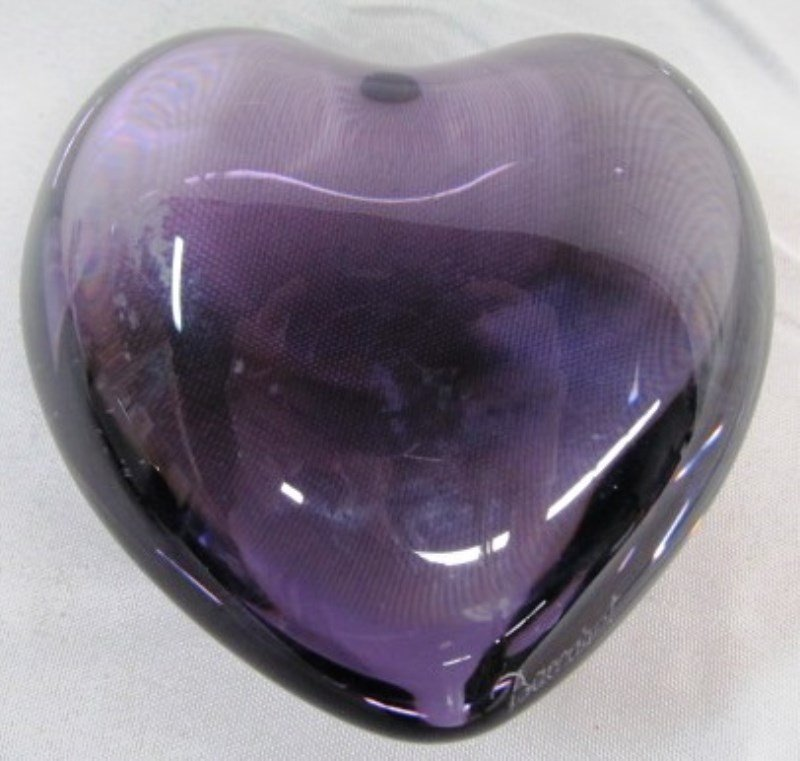 "3"" Baccarat Crystal Amethyst Heart Paper Weight ~"