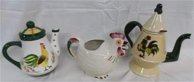 Lot of 3 Vintage Rooster Items ~ Rooster Pitcher ~