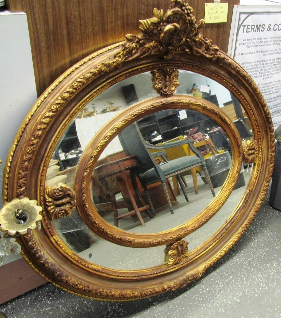 "Large Gold Gilt Oval Mirror ~ 46"" X 48"""
