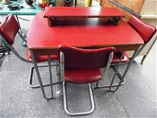 Vintage Red Metal Framed Table w3 Chairs  Leaf