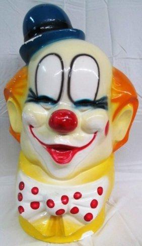 "Vintage Huge Clown Chalk Bank 23"" Tall"