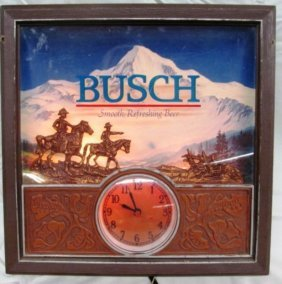 Vintage Busch Beer Light Up Wall Clock